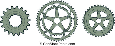 Bike Gears - These are three vector illustrations of bike...