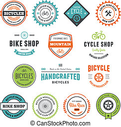 Bike graphics - Set of bicycle graphics and design emblems