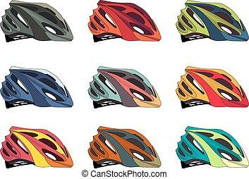 Bike helmet - Colorful bike helmet vector pack