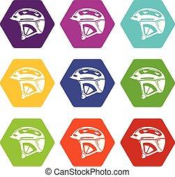 Bike helmet icons set 9 vector