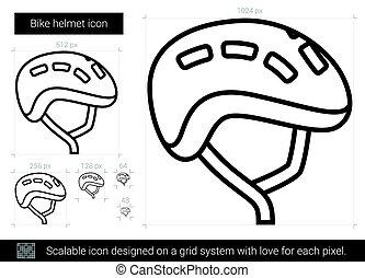 Bike helmet line icon.