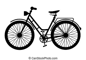 Bike Icon. Black Bicycle Symbol Silhouette Isolated on White Background.