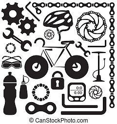 Bike icon - Black collection of bicycle accessories vector...