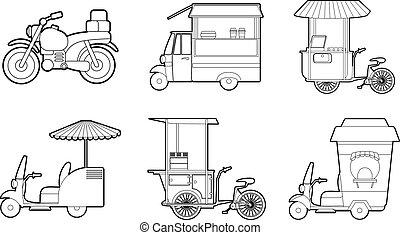 Bike icon set, outline style - Bike icon set. Outline set of...
