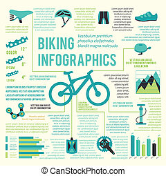 Bike icons infographic - Bicycle bike sport fitness icons...