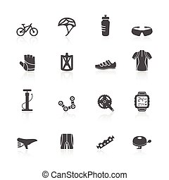 Bike icons set - Bicycle bike sport fitness flat icons set...