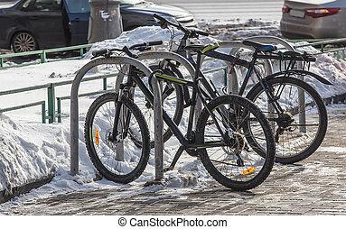 bike in the winter on Parking