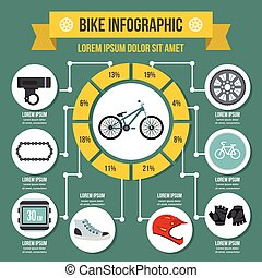 Bike infographic concept, flat style
