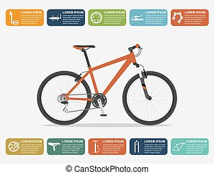 bike infographic - infographic template with mountain bike...