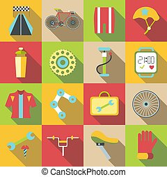 Bike items icons set, flat style