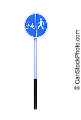 Bike lane and pedestrian walkway sign on white background.