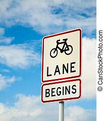 Bike lane begins
