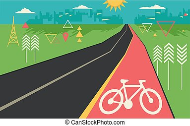 Illustration of a Bike Lane in an Abstract Geometric Design