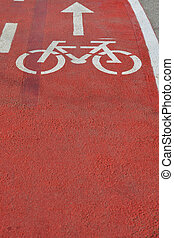 Detail of separated lane on road for bicycles