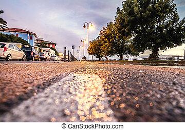 Bike lane in Alghero seafront at sunset