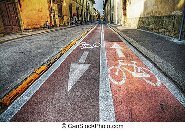 bike lane in Florence in hdr