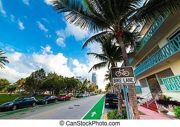 Bike lane in Miami Beach