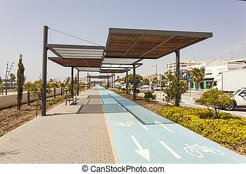 Bike lane in San Pedro de Alcantara, Spain