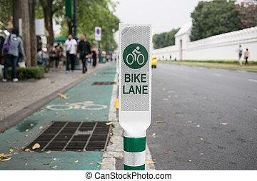 Bike Lane Sign in Bnagkok