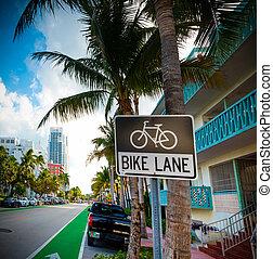 Bike lane sign in Miami Beach