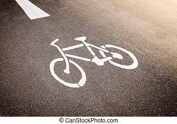 Bike Lane Symbol, Bicycle white sign on road.