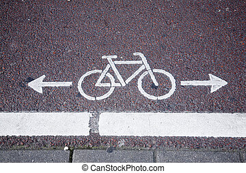 Bike Lane Symbol in Amsterdam
