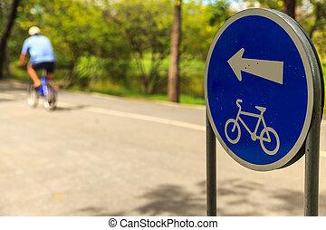 Bike lane symbol in park