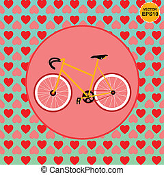 Bike love with heart patterns backg