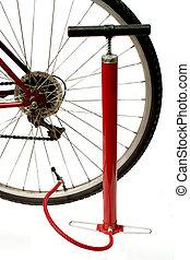 bike maintenance - bike and air pump
