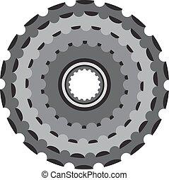 Bike metallic cogwheel, bicycle crankset cassette in flat style.