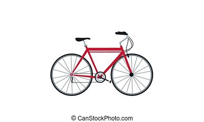 Bike motion over white background HD animation