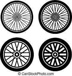 bike motorbike wheels black silhouette