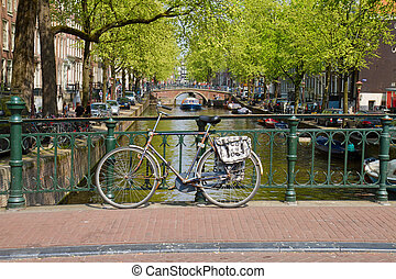 bike on canal ring, Amsterdam - bike on a bridge, canal ring...