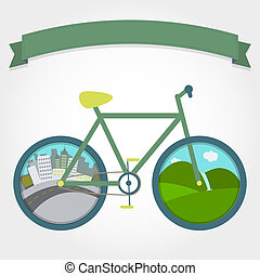 Bike on city or field - City and field in wheels of the...
