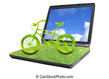 bike on grass laptop
