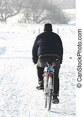 bike on snow