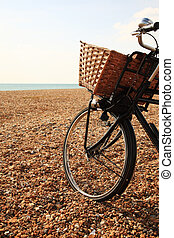 Bike on the pebble beach at Brighton England