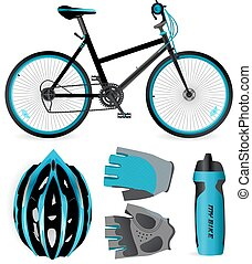 Bike or Bicycle accessories. Helmet, gloves and water bottle