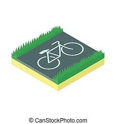 Bike parking icon, cartoon style