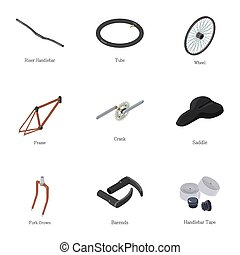 Bike part icons set, isometric style - Bike part icons set....