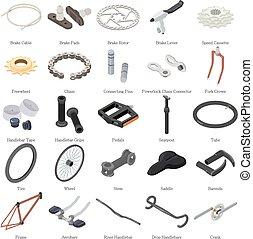 Bike parts icons set, isometric style