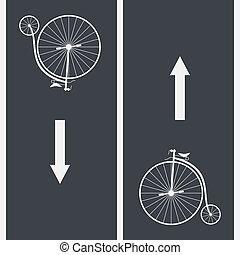 Bike path and Vintage Bicycle symbol on asphalt