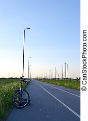 Bike path in the vicinity of St. Petersburg, Russia.