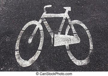 Symbol of bike path imprinted on the asphalt