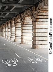 Bike path under Bercy bridge in Paris