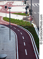 View of new bike path in Milan