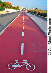 Bike path with a symbol of bike in Cascais, Portugal