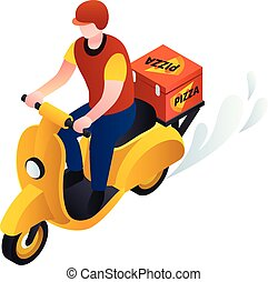 Bike pizza delivery icon, isometric style