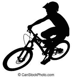 Bike race on a mountain slope -- silhouette