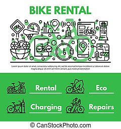 Bike rent concept background, outline style